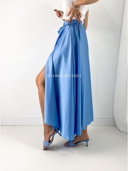 Maxi sukňa satén s rázporkom modrá M 142
