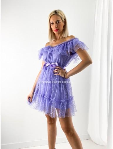 tylové šaty s volánom dottie short fialová M 12