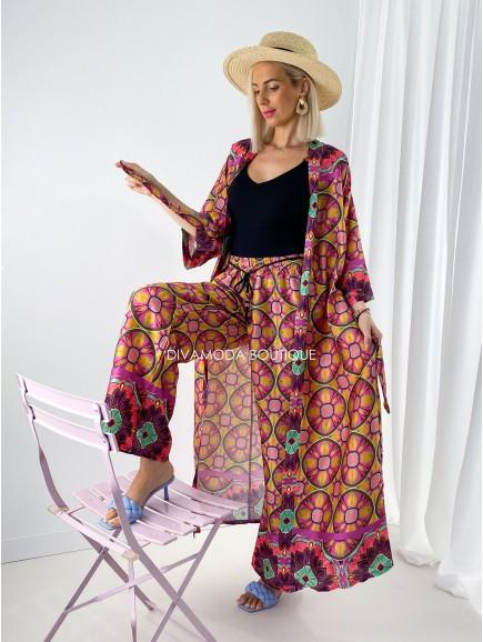 Kimono set circle long ružový M 185
