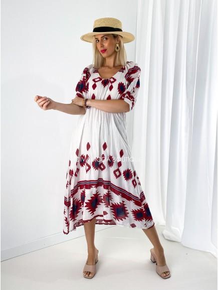 Bavlnené ethno maxi šaty bordo M 191