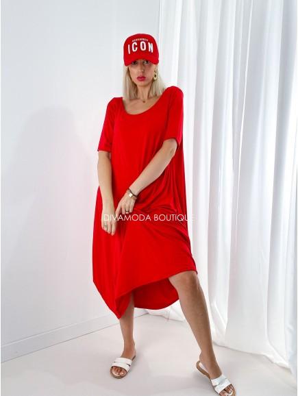 Oversize šaty bassie červené M 198