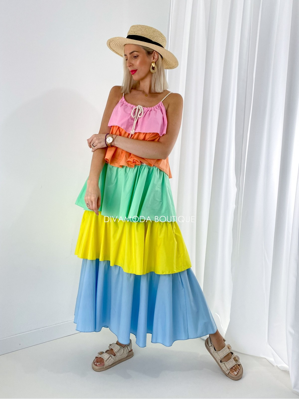 Volánové maxi šaty farebné messi M 209