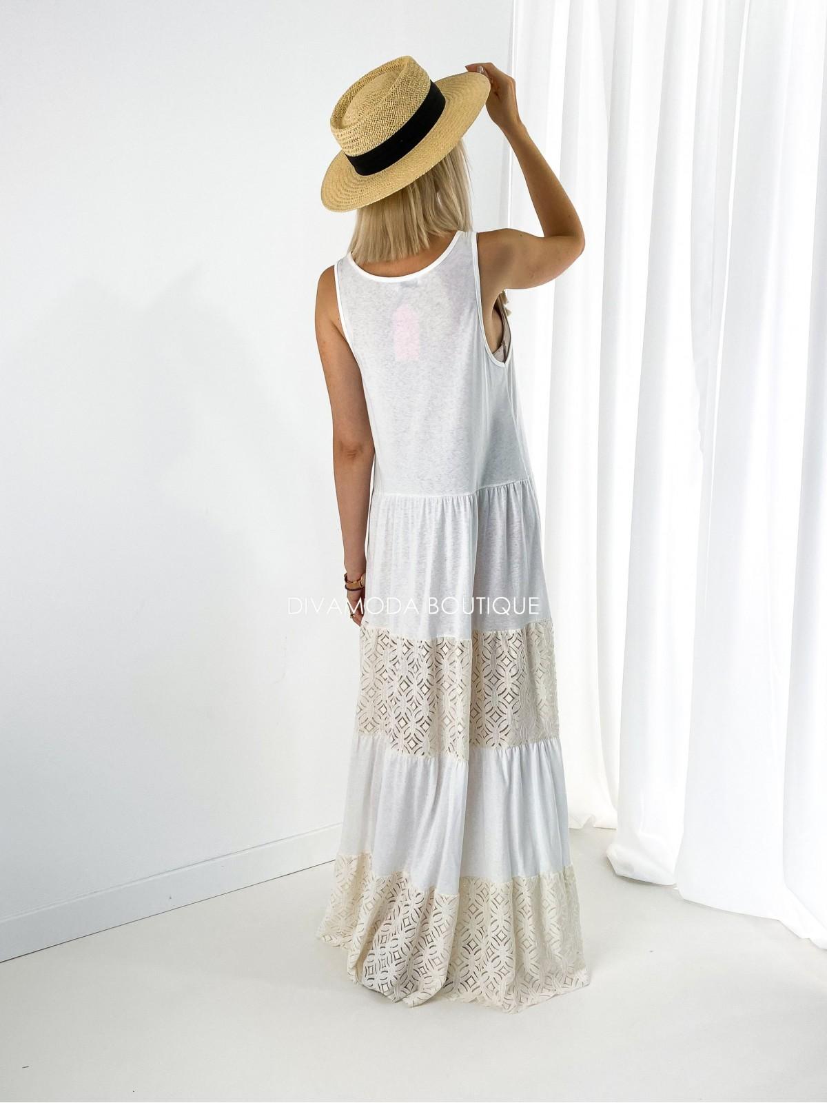 Maxi šaty s krajkou boho M 211