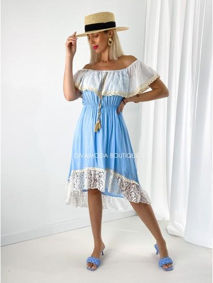 Šaty hispánky s volánom modré M 201