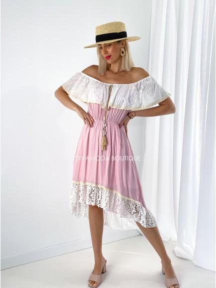 Šaty hispánky s volánom ružové M 201