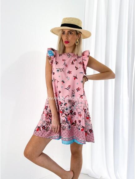 Šaty s volánmi Corina small pink flowers M 194