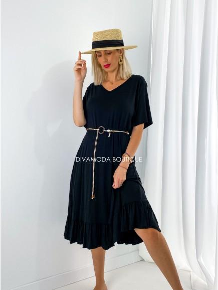 Oversize šaty s opaskom čierne M 200