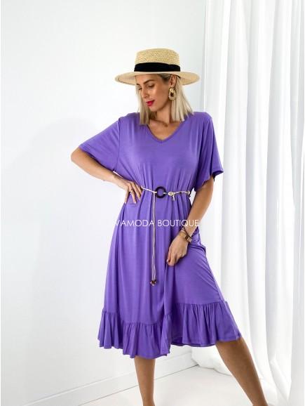 Oversize šaty s opaskom fialová M 200