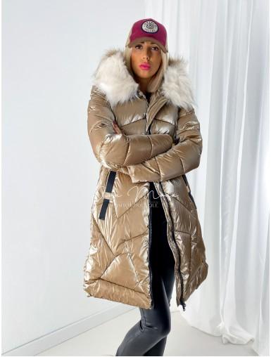 Lesklá Zimná bunda Jasmin zlatá A 83