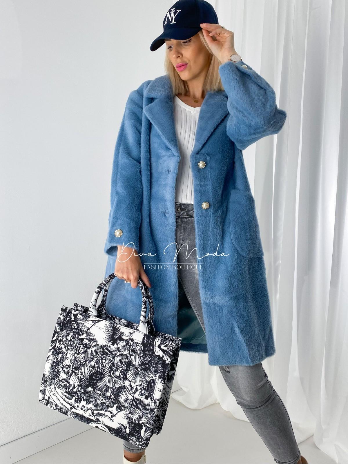 Chlpatý kabátik Perla modrý A 75