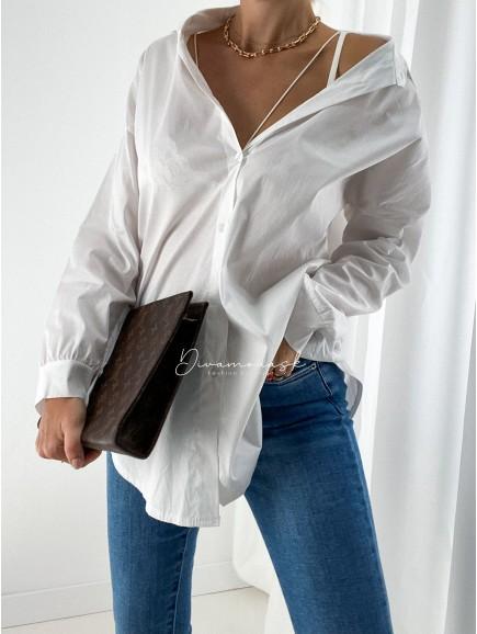 Predĺžená basic biela košeľa A 37