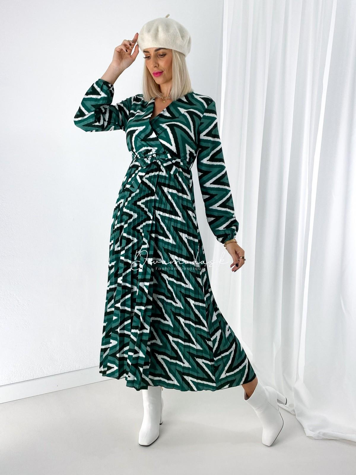 maxi šaty s plisom cik-cak zelené A 109