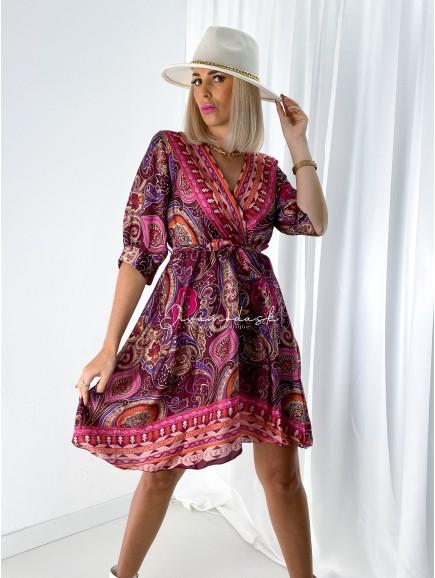 Saténové šaty Yzza ružové A 112