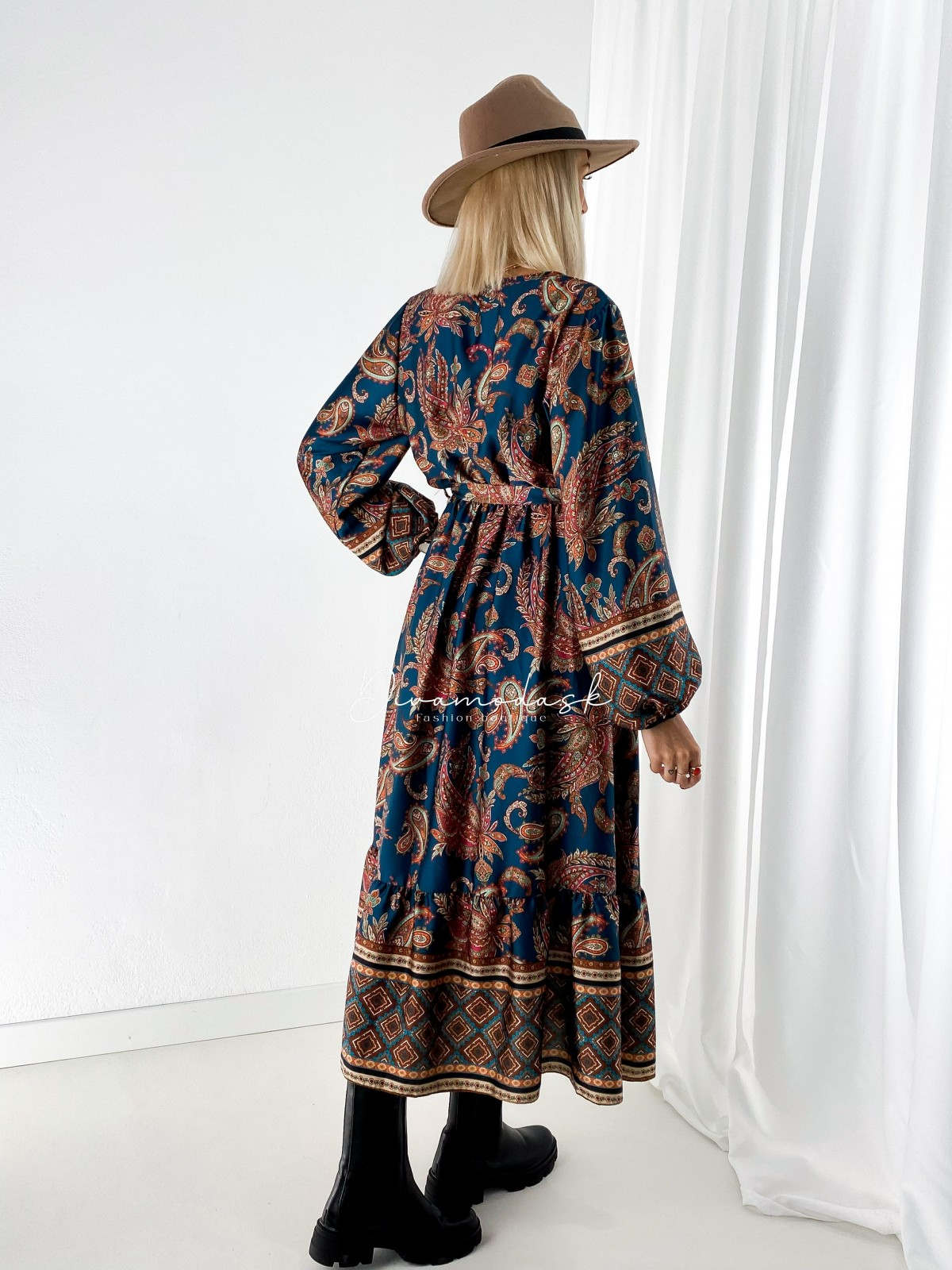 Saténové maxi šaty autumn petrol A 107