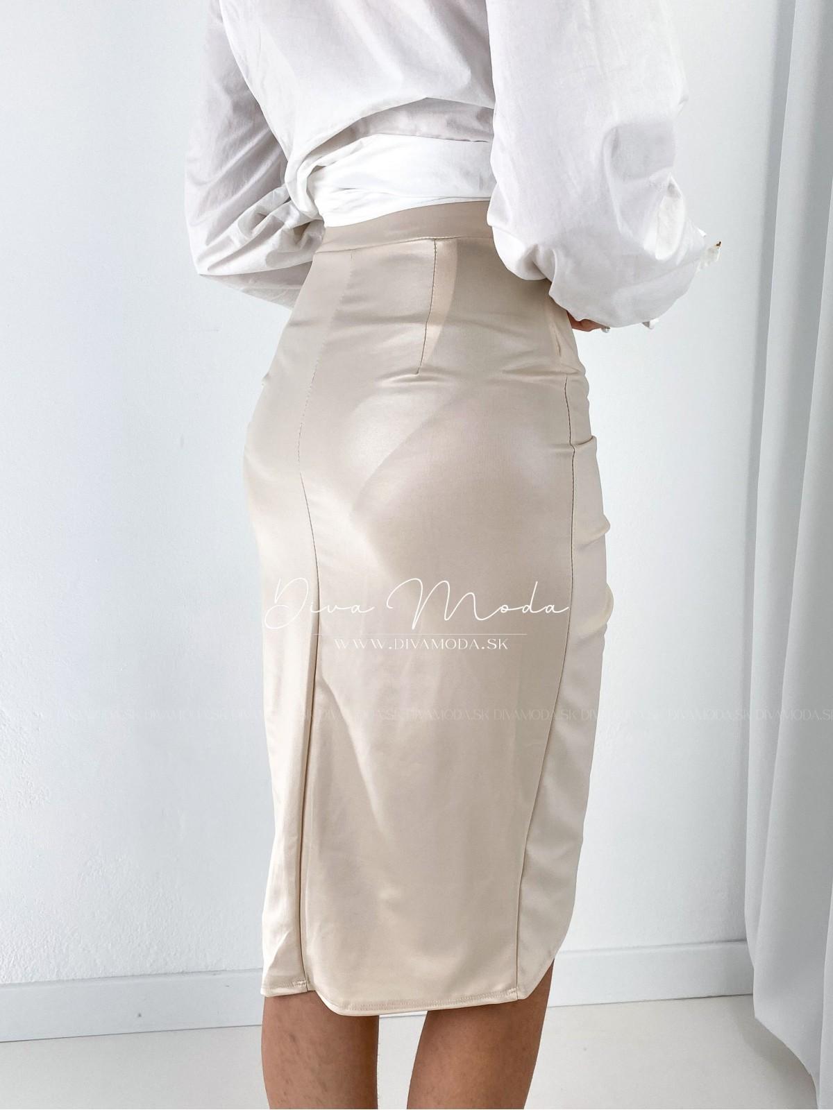 Koženková midi sukňa s riasením béžová A 140