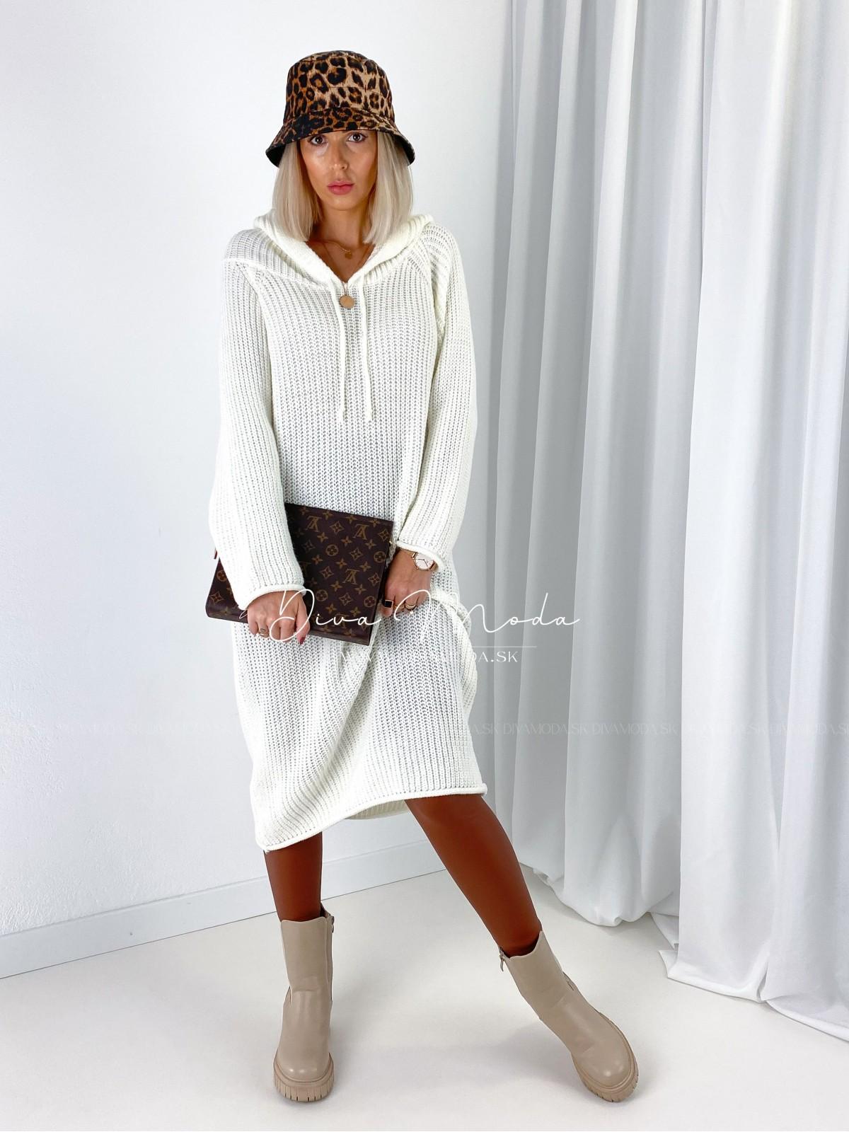 Pletené šaty / sveter s kapucňou biely 148