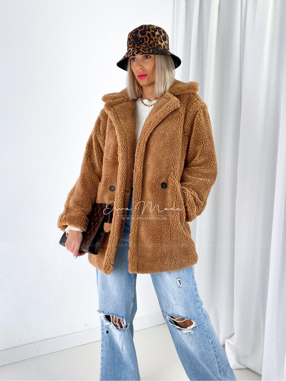 Teddy kabát krátky hnedý A 155